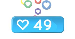Icono e iconos sociales 4k del corazón de los medios libre illustration