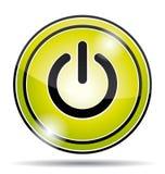 Icono eléctrico verde del botón de encendido Imagen de archivo