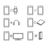 Icono elegante de la conexión del teléfono Imagen de archivo