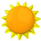 Icono en blanco 3d del sol Imágenes de archivo libres de regalías