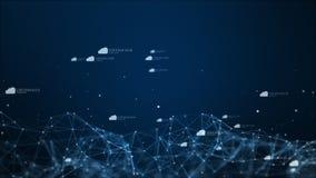 Icono en ciberespacio digital, concepto de la nube de las conexiones de red de la tecnolog?a libre illustration