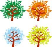 Icono en 4 diversas estaciones - sistema del árbol Fotografía de archivo