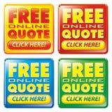 Icono en línea libre del botón de la cotización Imagen de archivo