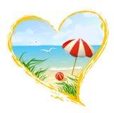 Icono en la forma de un corazón con la playa Imagenes de archivo