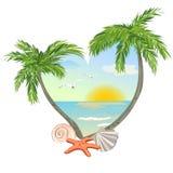 Icono en la forma de un corazón con la playa y el th Imagen de archivo libre de regalías