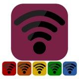 Icono en seis colores - ejemplo del Wi-Fi Imagen de archivo