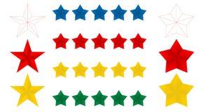 Icono en un fondo blanco, ejemplo de las estrellas cinco del vector Oro amarillo azul rojo 5 y línea fina estrellas Ilustración d ilustración del vector