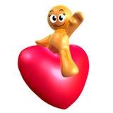 Icono encantador 3d que monta un corazón ilustración del vector