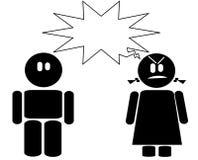 Icono enojado de la muchacha y del muchacho Foto de archivo libre de regalías