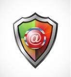Icono/escudo de la protección del correo electrónico Imagen de archivo libre de regalías