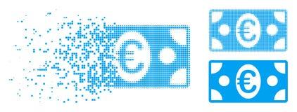 Icono euro de semitono descompuesto del billete de banco del pixel stock de ilustración