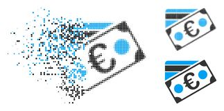 Icono euro de semitono punteado Destructed de la tarjeta del billete de banco y de crédito libre illustration