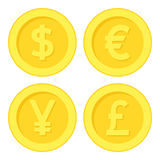 Icono euro de Yen Pound Golden Coin Flat del dólar ilustración del vector