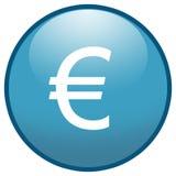 Icono euro del botón de la muestra (azul) Imagenes de archivo