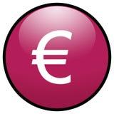 Icono euro del botón de la muestra (color de rosa) Fotografía de archivo libre de regalías
