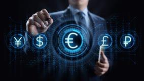 Icono euro en la pantalla Concepto del negocio de las divisas del tipo de cambio del comercio de divisas foto de archivo libre de regalías