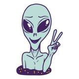 Icono extraterrestre, estilo exhausto de la mano stock de ilustración
