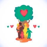 Icono feliz de la familia multicolor en figuras simples T Fotografía de archivo