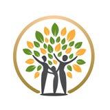 Icono feliz del árbol de la gente Imágenes de archivo libres de regalías