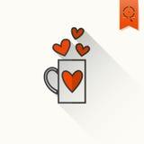 Icono feliz del día de tarjetas del día de San Valentín Imágenes de archivo libres de regalías