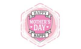 Icono feliz del logotipo del rosa del día de madre ilustración del vector