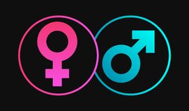 Icono femenino y masculino del sexo del género ilustración del vector