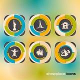 Icono fijado con las señales y la atracción Foto de archivo libre de regalías