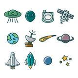 Icono fijado con tema del espacio consiste en imágenes de la nave espacial, de estrellas, de cohetes, de astronautas y de otros ilustración del vector