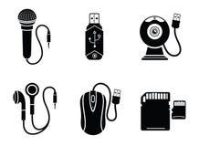 Icono fijado en el negro para los dispositivos digitales Imagenes de archivo