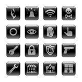Icono fijado en el tema de la salvaguardia y de la seguridad Foto de archivo libre de regalías
