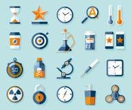 Icono fijado en estilo plano Veinte diversos objetos en fondo del color Elementos del diseño del vector para usted proyectos del  Foto de archivo