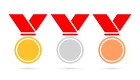 Icono fijado medallas del vector del deporte Imagenes de archivo
