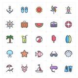 Icono fijado - movimiento a todo color del esquema de la playa fotos de archivo libres de regalías