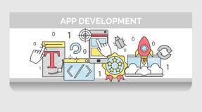 Icono fijado para el desarrollo de aplicación móvil Stock de ilustración