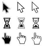 Icono-flecha de los cursores del pixel, reloj de arena, ratón de la mano Fotos de archivo