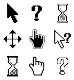 Icono-flecha de los cursores del pixel, reloj de arena, ratón de la mano Foto de archivo libre de regalías