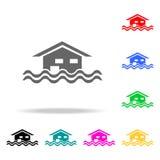 icono flotante de la casa Elementos de las propiedades inmobiliarias en iconos coloreados multi Icono superior del diseño gráfico ilustración del vector
