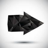 Icono geométrico de la flecha negra hecho en el estilo moderno 3d Imagenes de archivo