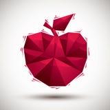 Icono geométrico de la manzana roja hecho en el estilo moderno 3d, mejor para el uso a Foto de archivo
