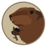 Icono geométrico del estilo del castor de la colección de los animales salvajes redondo Foto de archivo libre de regalías