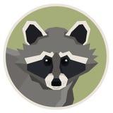 Icono geométrico del estilo del mapache de la colección de los animales salvajes redondo Imagen de archivo libre de regalías