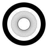 Icono gráfico del fractal concéntrico del modelo de la forma del círculo del elemento del extracto del Spirograph en el ejempl libre illustration
