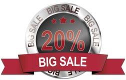 icono grande de la venta del 20% Foto de archivo libre de regalías