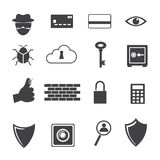 Icono grande de los datos, iconos del criminal de ordenador fijados Fotografía de archivo libre de regalías