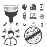 Icono grande de los datos, iconos del criminal de ordenador fijados Imagen de archivo libre de regalías