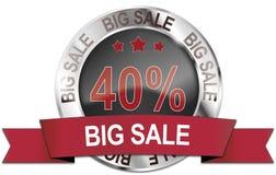 icono grande de plata de la venta del 40% Imagen de archivo libre de regalías