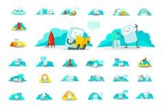 Icono grande del carácter del sistema de la etiqueta engomada de Emoji Diversas situaciones del hombre del astronauta humano lind stock de ilustración