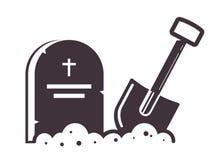 Icono grave con una pala pegada en la tierra stock de ilustración