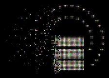 Icono hecho fragmentos luz de Dot Halftone Database Sphere Shield stock de ilustración