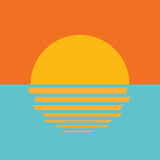 Icono hermoso de la puesta del sol del océano Fotografía de archivo libre de regalías